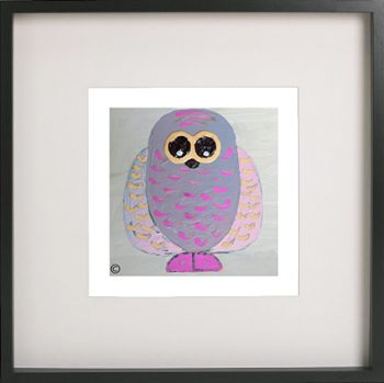Art Print of an owl in a black frame for a kids bedroom - Owlie Ia By Sarah Jane