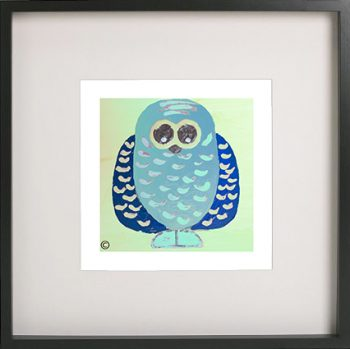 Art Print of an owl in a black frame for a kids bedroom - Owlie If By Sarah Jane