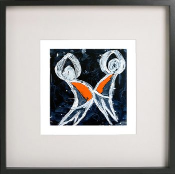 Art Print of children playing in a black frame for a kids bedroom - Playful Pair I By Sarah Jane