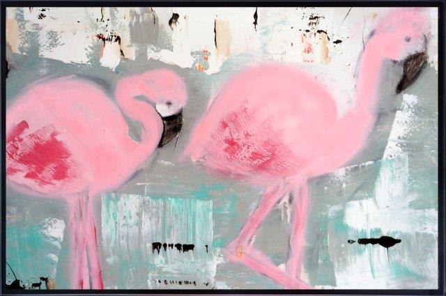 Art Print on Glass of flamingos By Adelaide Artist Sarah Jane with Thin Black Border - On the Move II