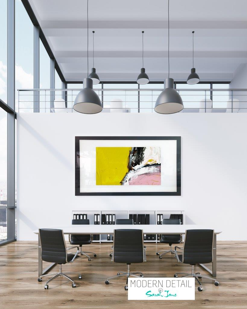 Art Print on Glass with block colours for a boardroom from Modern Detail By Sarah Jane - Cozzie VIIId