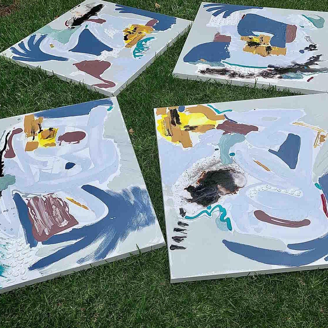 Australian Art - 4 happy colourful paintings - Climate Change - Sarah Jane Artist