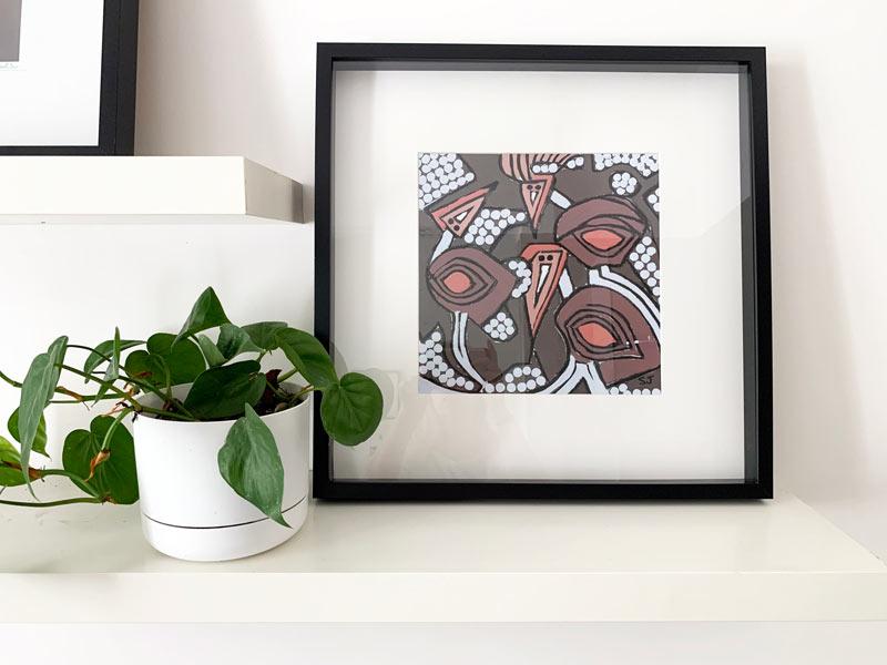 australian art abstract birds neutral colours - sarah jane modern artist