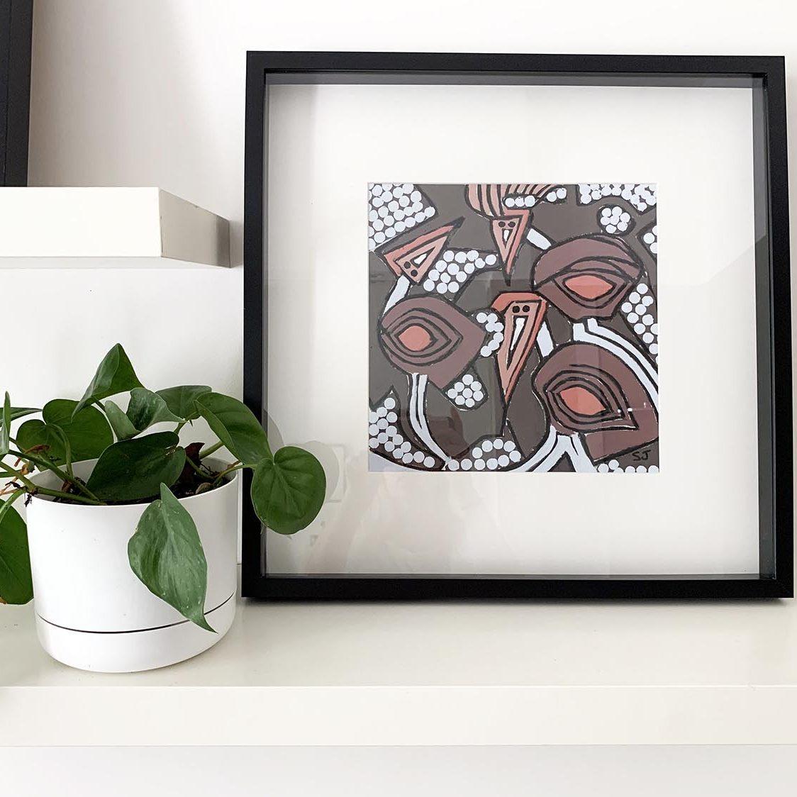 Australian Art - Abstract Birds - Neutal colours - Sarah Jane Modern Artist