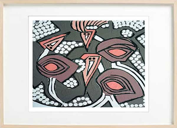 australian wildlife abstract fien art print - sarah jane art titled australiana iia in a birch effect frame