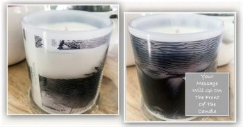 Bespoke Candle with message By Sarah Jane - Anonymous IVh - Front and back view