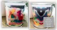 Bespoke Candle with message By Sarah Jane - Colour me Happy I - Front and back view