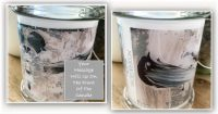 Bespoke Candle with message By Sarah Jane - Feathers Lb - Front and back view