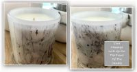 Bespoke Candle with message By Sarah Jane - New Life IVe - Front and back view