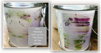 Bespoke Candle with message By Sarah Jane - Pastel Le - Front and back view