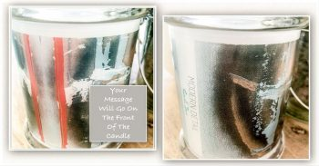 Bespoke Candle with message By Sarah Jane - United we Stand IIa - Front and back view