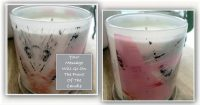 Bespoke Candle with your own personal message - Feathers XVIIa Artwork - Front and back view