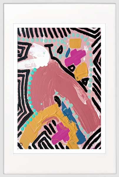 Bird Print bold colours - Sarah Jane Artist - Australiana IIIa - White frame