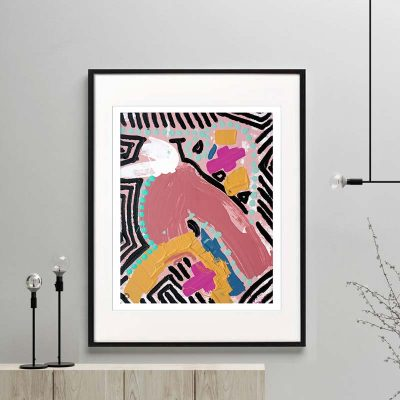 bird print modern abstract bright colours titled australiana iiia framed or unframed by sarah jane australian artist