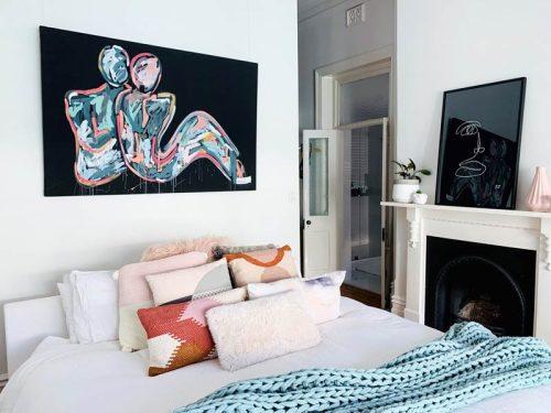 Black-Canvas-Bedroom-Art---LOVERS-CRUSH-I---Sarah-Jane-Aussie-Artist