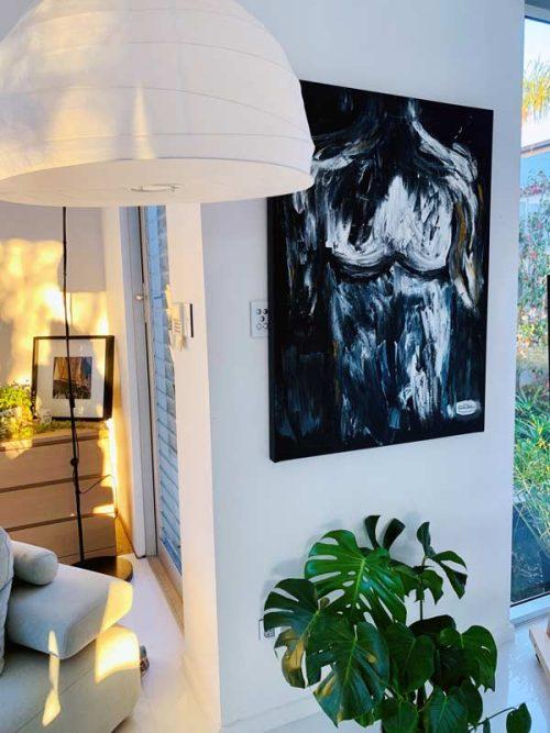 Black-Canvas-Painting-Male-Torso-Dark-Colours---ISOLATION-I---Covid-19-Art-By-Sarah-Jane-Artist