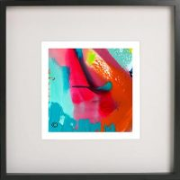 Black Framed Print with Abstract Art By Artist Sarah Jane - Colour me Happy V