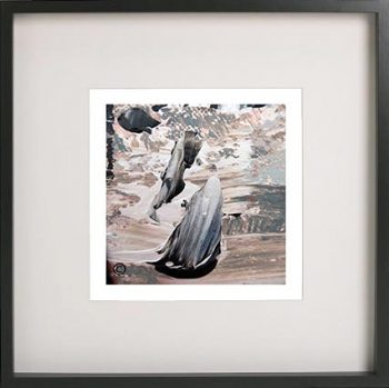 Black Framed Print with Abstract Art By Artist Sarah Jane - Feathers Lb