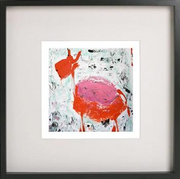 Black Framed Print with Abstract Art By Artist Sarah Jane - Goatey I