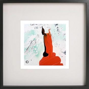 Black Framed Print with Abstract Art By Artist Sarah Jane - Goatey II