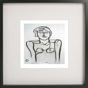 Black Framed Print with Abstract Art By Artist Sarah Jane - Linear II
