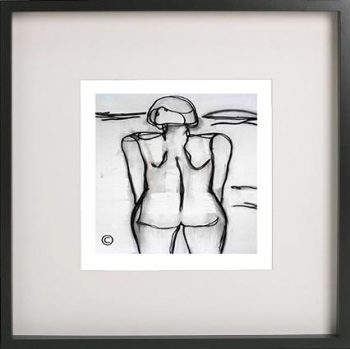 Black Framed Print with Abstract Art By Artist Sarah Jane - Linear III