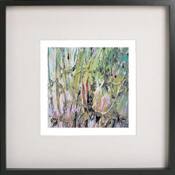 Black Framed Print with Abstract Art By Artist Sarah Jane - New Life IVb