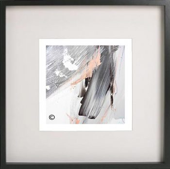 Black Framed Print with Abstract Art By Artist Sarah Jane - Peach III