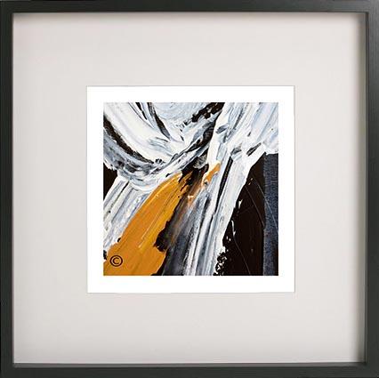 Modern Abstract Art Print By Artist Sarah Jane Called Playful Pair Iiic In A Shadowbox Frame 52cm X 52cm
