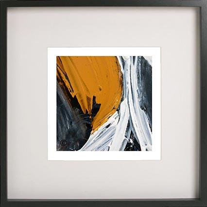 Modern Abstract Art Print By Artist Sarah Jane Called Playful Pair Iic In A Shadowbox Frame 52cm X 52cm