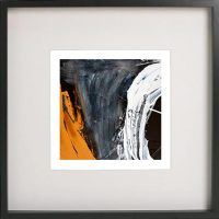 Black Framed Print with Abstract Art By Artist Sarah Jane - Playful Pair IVc