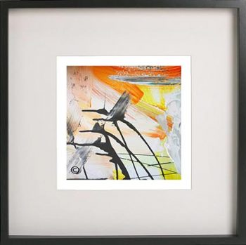 Black Framed Print with Abstract Art By Artist Sarah Jane - Reaching Out II
