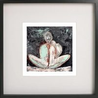 Black Framed Print with Abstract Art By Artist Sarah Jane - Tenderness I