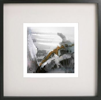 Black Framed Print with Abstract Art in soft neutral colours By Artist Sarah Jane - Wind of Change II