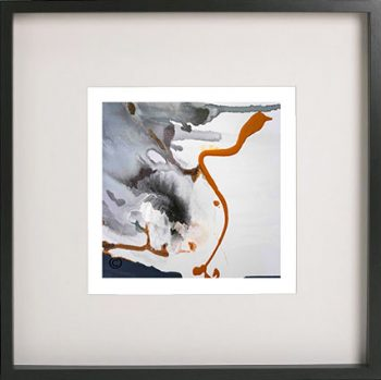 Black Framed Print with Abstract Art in soft neutral colours By Artist Sarah Jane - Wind of Change III