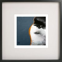 Black Framed Print with Abstract art in mixed colours By Artist Sarah Jane - Wind of Change IV