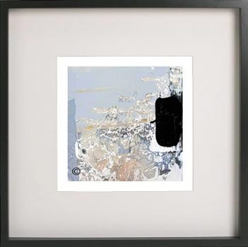 Black Framed Print with Modern Art of the ocean foreshore By Artist Sarah Jane - Beautiful VIII
