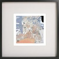 Black Framed Print with Modern Art of the ocean foreshore By Artist Sarah Jane - Beautiful X