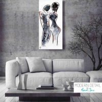 Black and White Painting Couple by Artist Sarah Jane called Duo - MODERN DETAIL BY SARAH JANE