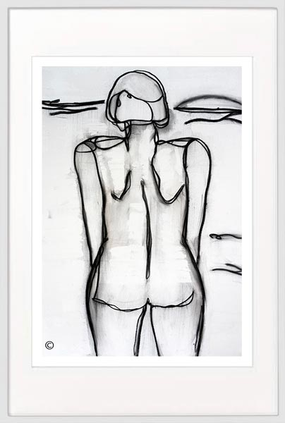 black and white print woman beach by Sarah Jane Artist titled Linear III in a white frame