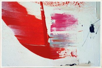 Bold Print on Glass with Contemporary Art By Australian Artist Sarah Jane with Thin White Border - On the Move XX