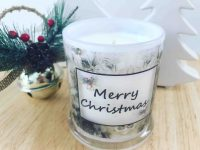Christmas Candle By Sarah Jane Adelaide Artist with natural soy wax