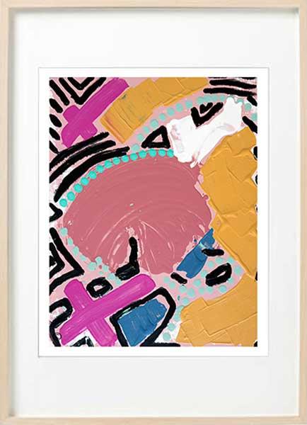 Colourful Abstract Fine Art Print - Sarah Jane Art - Australiana IVa - Birch effect frame