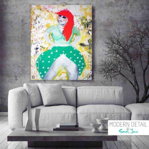 Colourful Modern Painting of a red headed woman by Artist Sarah Jane called Own Stride - MODERN DETAIL BY SARAH JANE