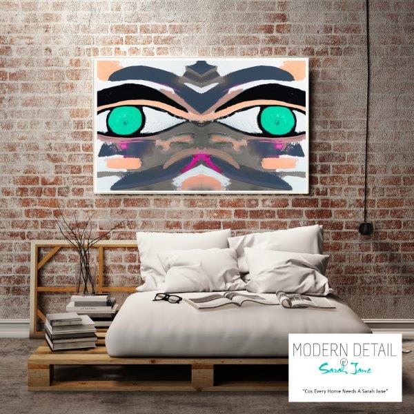 Colourful Modern Print for the bedroom By Sarah Jane - Being Watched Ifff