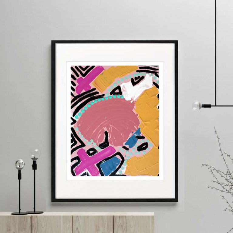 colourful print modern abstract bright colours titled australiana iva framed or unframed by Sarah Jane Australian Artist