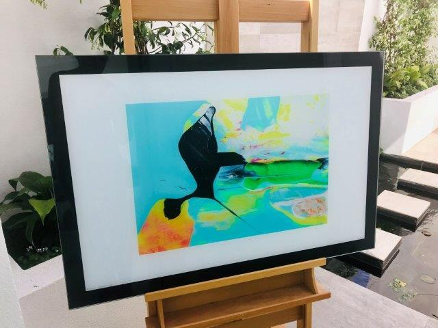 Colourful absract print on glass - Unconditional Love LIV By Artist Sarah Jane