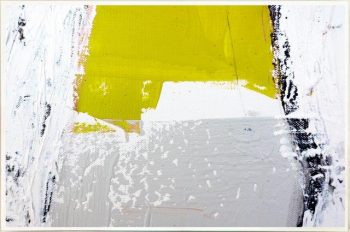 Contemporary Art Print on Glass with block colours By Australian Artist Sarah Jane with Thin White Border - Cozzie Va