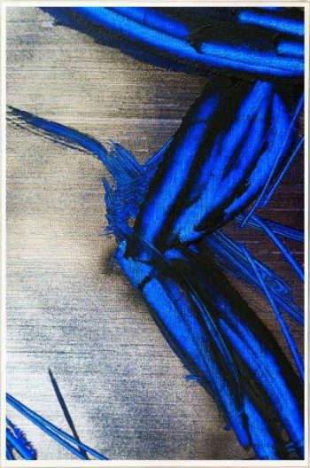 Contemporary Print on Glass with metallic and blue colour tones By Sarah Jane with Thin White Border - Faceless III
