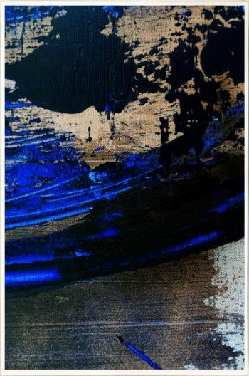 Contemporary Print on Glass with metallics and blue By Artist Sarah Jane with Thin White Border - Faceless X